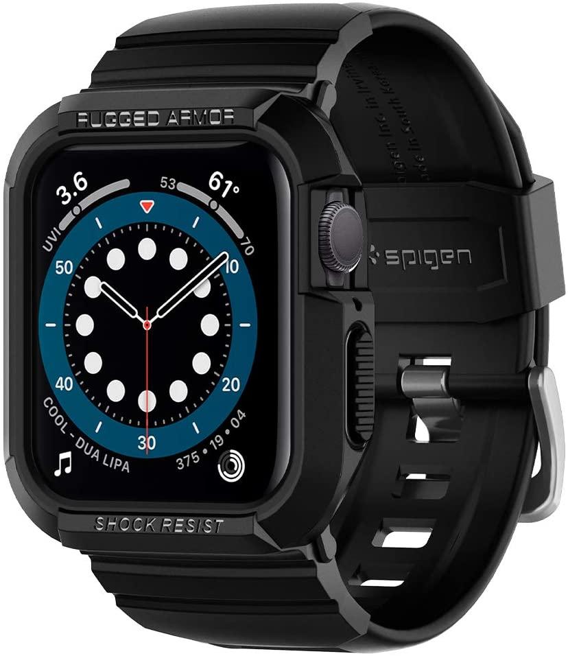 Spigen Rugged Armor Pro Compatible con Apple Watch Funda con Correa para 44mm Serie 6/SE/5/4 - Negro