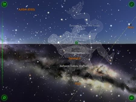 Este es el estupendo aspecto de Star Walk, en la imagen podemos ver dos constelaciones y el satélite AJISAI
