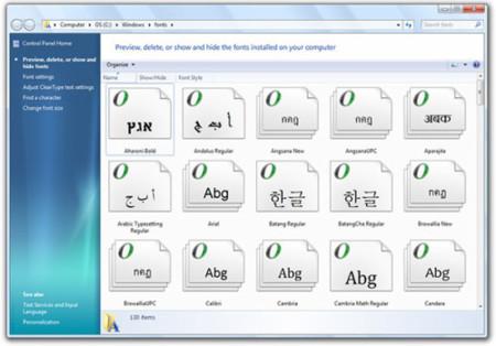 Fuentes en Windows 7
