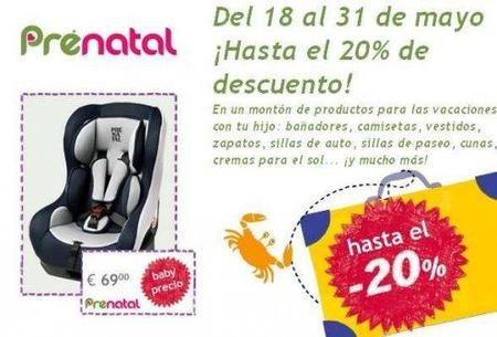 Hasta un 20% de descuentos en artículos para las vacaciones en Prenatal