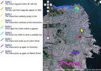 El trazado de la persecución de Bullitt en Google Maps