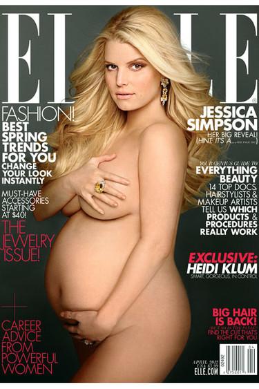 Jessica Simpson y su portada de Elle marzo. Desnudas y embarazadas ¿un sí o un no?