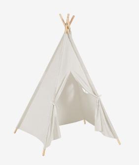 Tipi Darlyn 100% algodón blanco y patas de madera maciza de pino