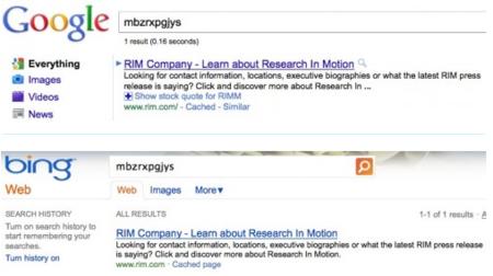Un ejemplo de los resultados de Google y Bing