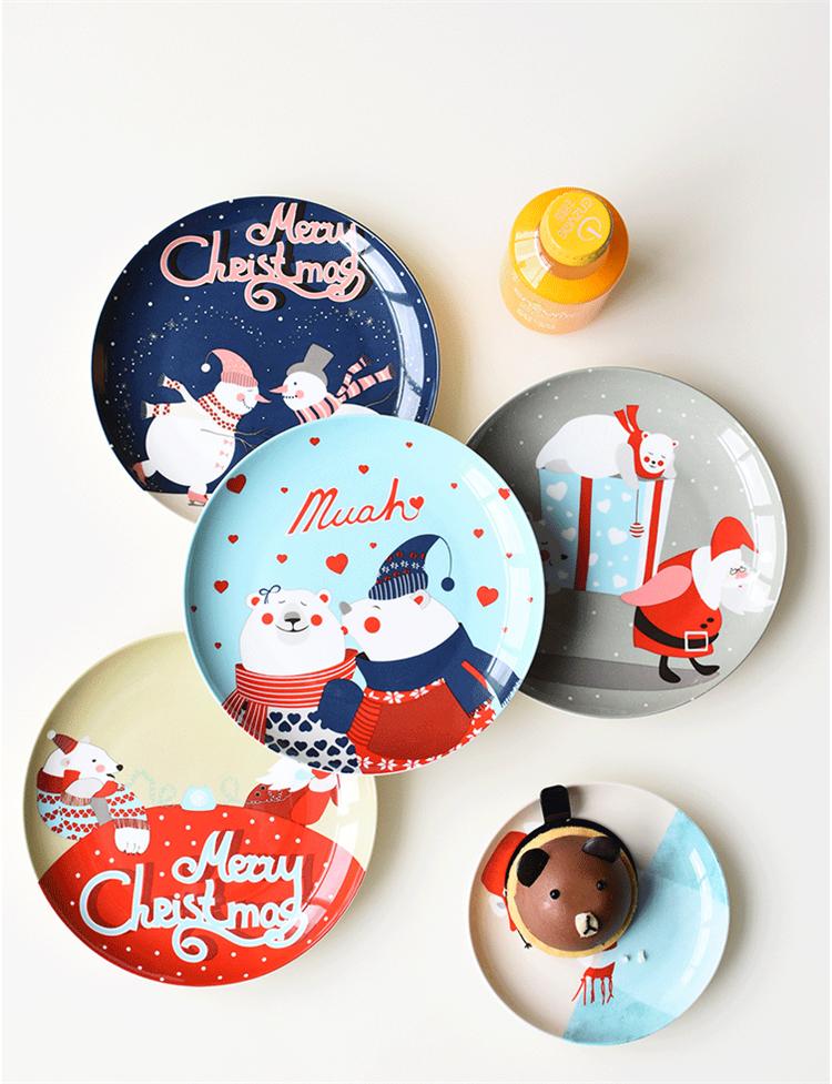 Platos de cerámica de Navidad de dibujos animados de carne pintada a mano plato de postre hueso China plato de fruta occidental regalo de Año Nuevo