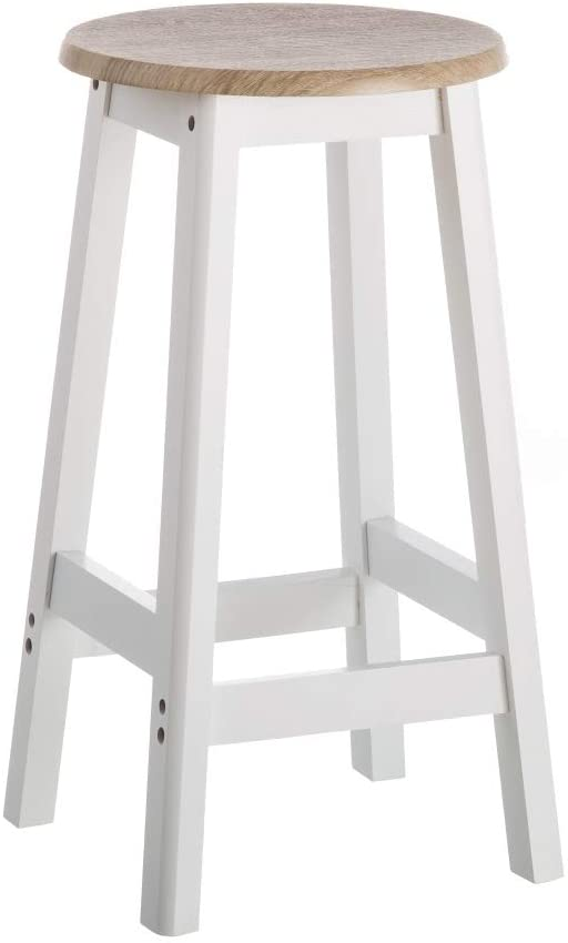 Taburete de cocina moderno blanco de madera de 54x29x29 cm - LOLAhome