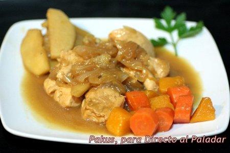 Guisado de pollo con soja, calabaza y zanahoria. Receta