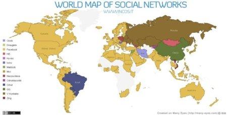 Mapamundi de redes sociales: Facebook líder en 111 de 131 países