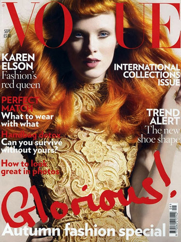 Karen Elson en la portada de la Vogue británica en septiembre