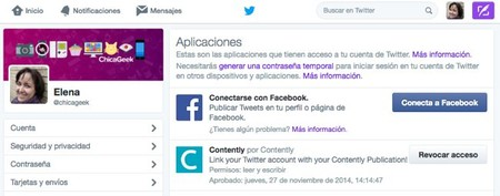 Aplicaciones Autorizadas Twitter
