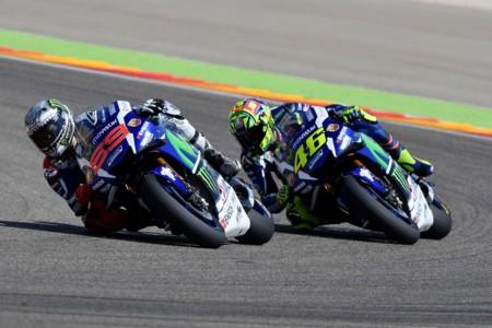 Jorge Lorenzo Valentino Rossi Movistar Yamaha Motogp Aragon 2016