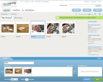 Bluestring, herramienta de creación de pases de diapositivas de AOL