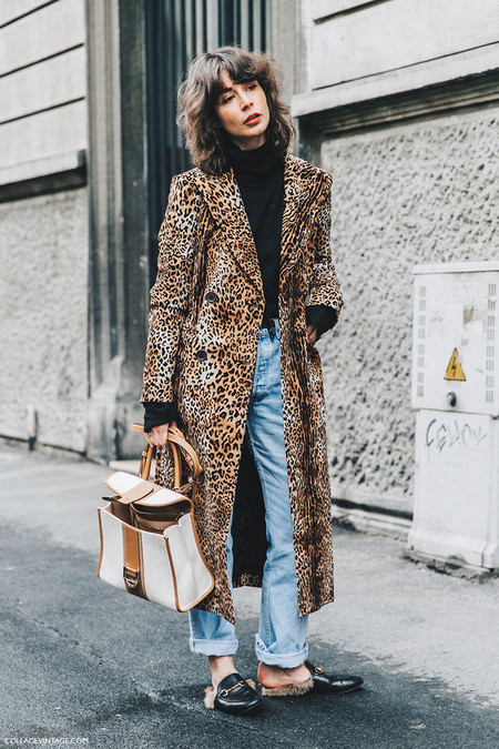 Milan Fashion Week Fall 16 Mfw Street Style Collage Vintage Irina Lakicevic Leopard Coat Gucci Slippers 1