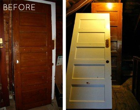 Antes y después: un sofá hecho con viejas puertas