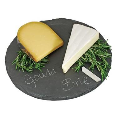 Plato de pizarra con tiza para quesos