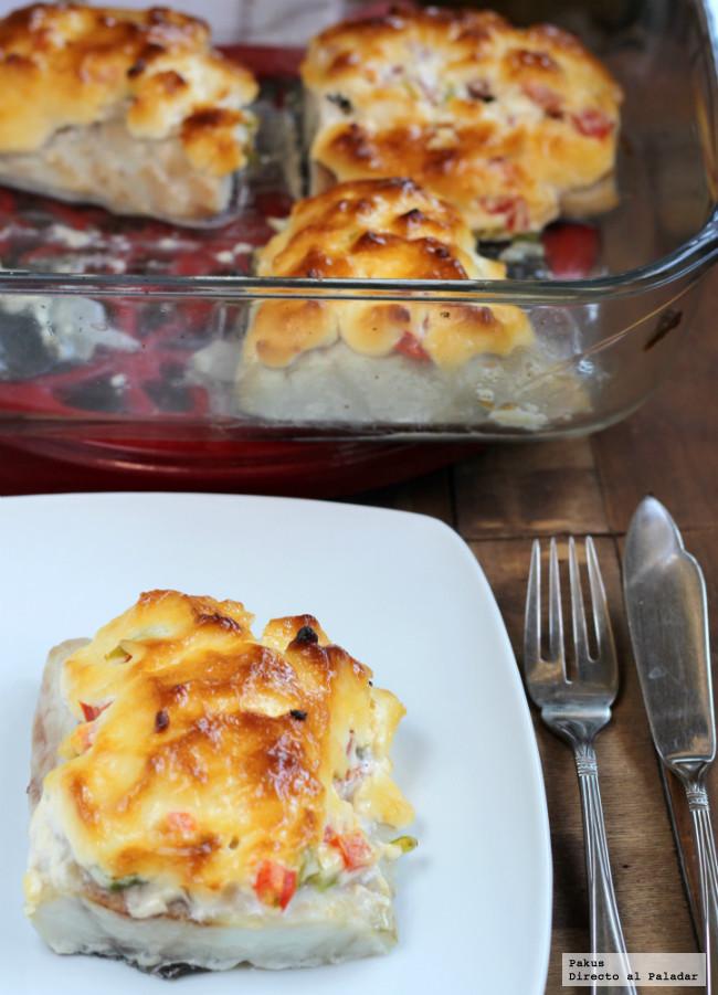 Receta de corvina con costra de mayonesa y vinagreta escondida
