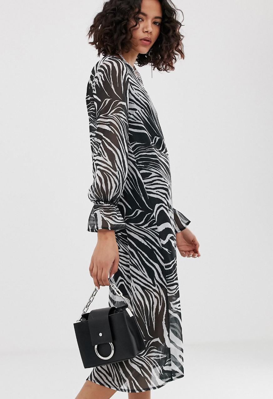 Vestido amplio midi con diseño transparente y estampado animal de Reclaimed Vintage inspired