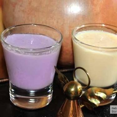 Bebida. Receta de Rompope de almendras con un toque de violetas