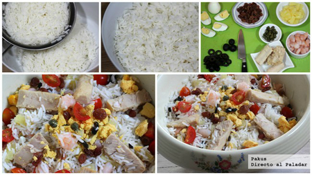 ensalada veraniega de arroz paso a paso