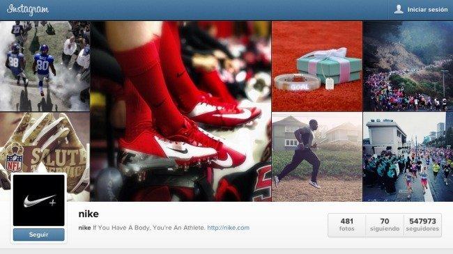 Perfil de Nike en Instagram