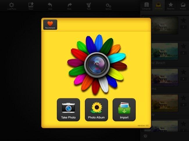 Pantalla de inicio de la aplicación para iPad