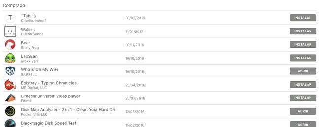 Mac App Store Historial Compras