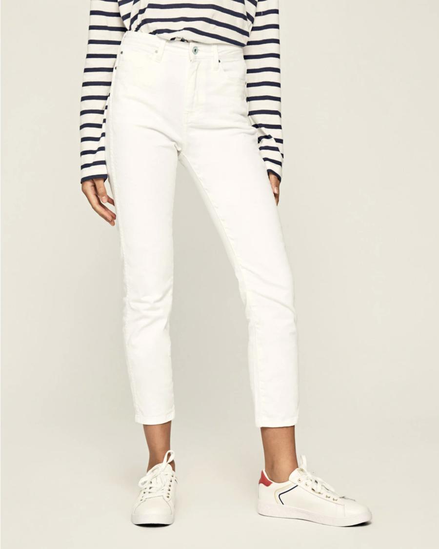 Vaquero pitillo de mujer con cintura alta en color blanco
