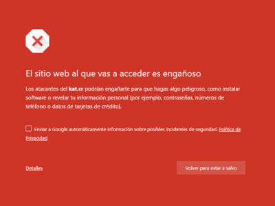 Google bloquea Kickass Torrent, y Chrome y Firefox lo consideran 'un sitio web engañoso'