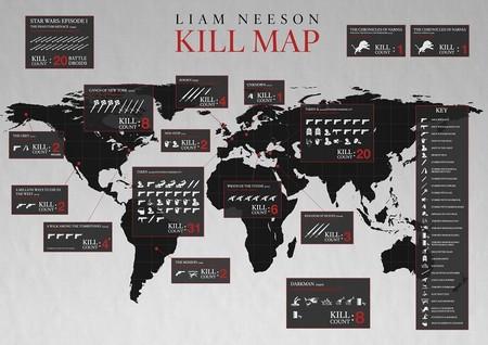 El mapa de los asesinatos de Liam Neeson