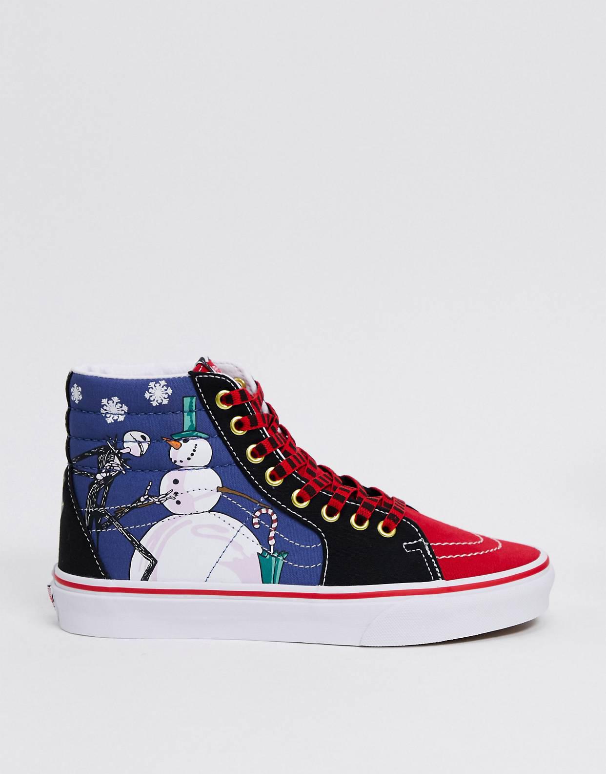 Zapatillas en azul y rojo SK8-Hi de Vans x Nightmare Before Christmas