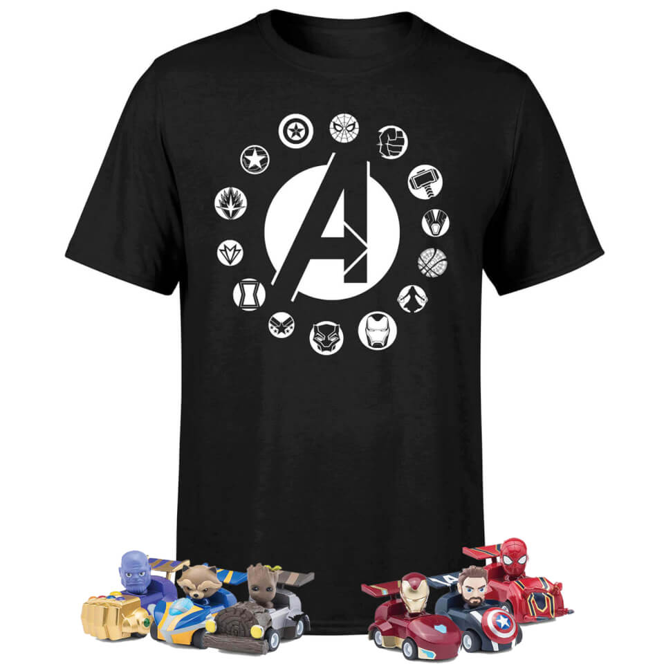 Pack Marvel Vengadores: Camiseta + 6 Coches Pullback + 6 Bolis