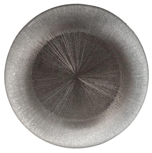 Plato de presentación de cristal gris