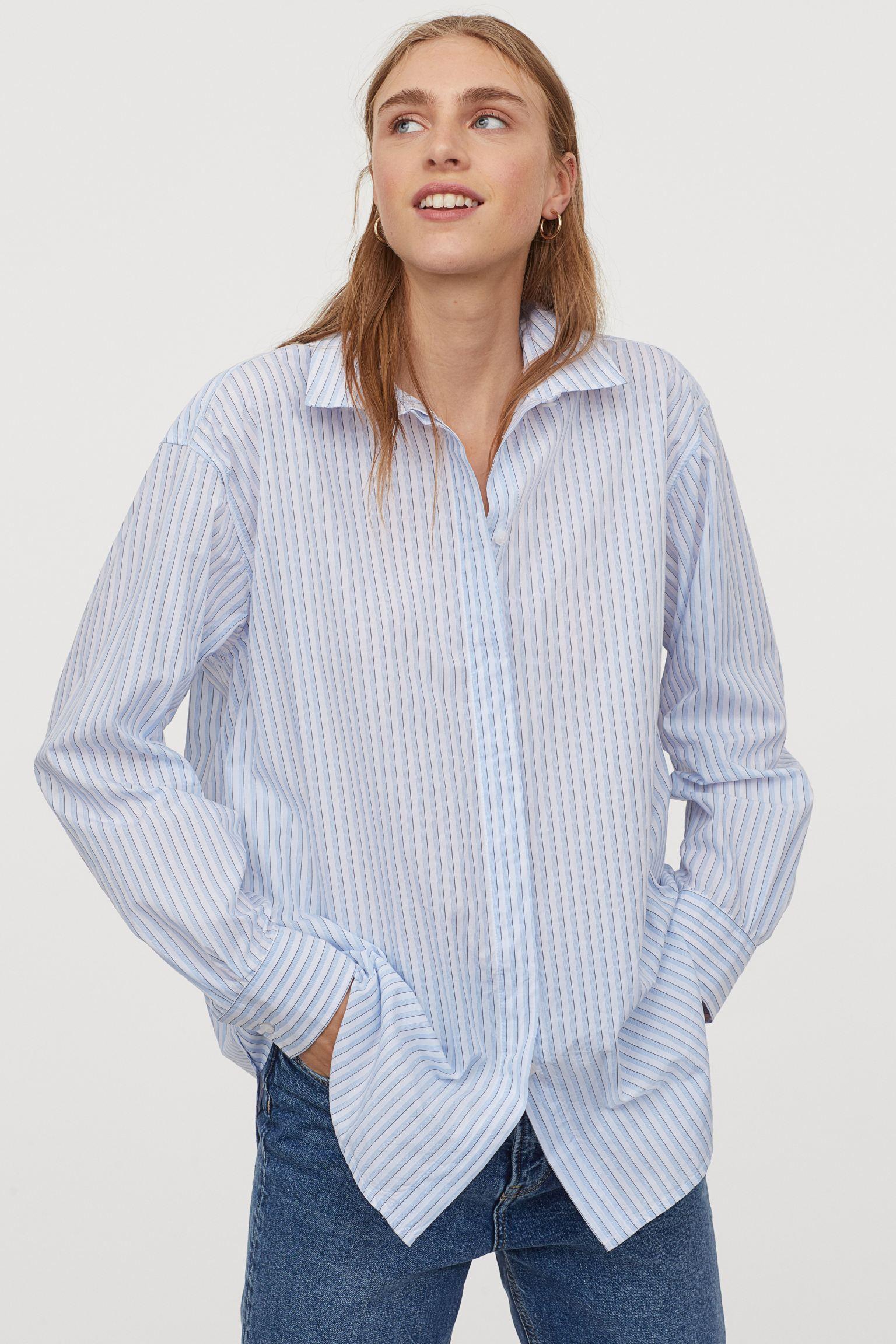 Camisa oversize de rayas azul claro