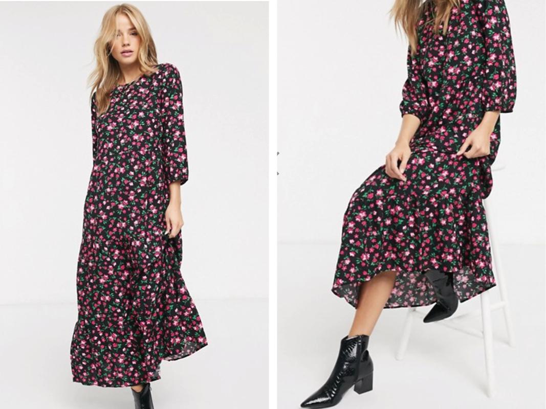 Vestido amplio con diseño escalonado y estampado floral rosa de New Look
