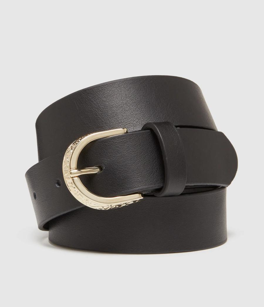 Cinturón de mujer El Corte Inglés de piel en negro con hebilla labrada