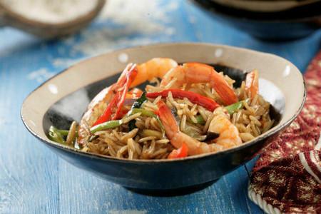 Receta de arroz basmati salteado con langostinos y verduras