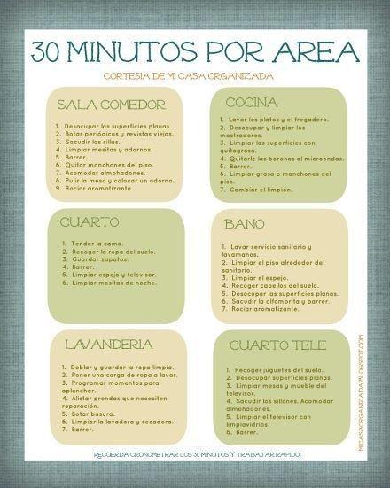 13 imprimibles gratis para organizar las tareas del hogar - Limpieza en casa ...