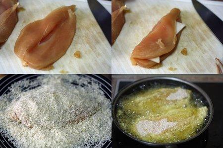 Pollo panko relleno de queso de cabra. Pasos