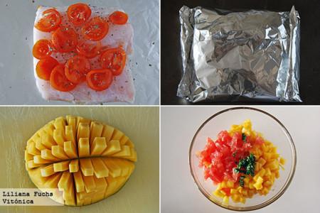 Merluza al papillote con salsa de mango y pomelo. Receta saludable. Pasos