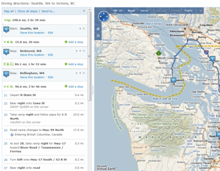 Paradas en Live Search Maps