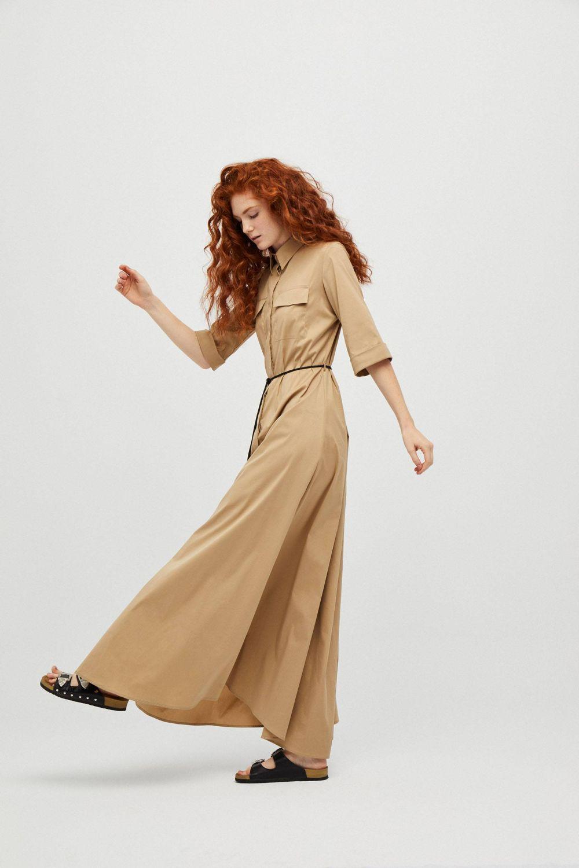 Vestido largo camisero de manga francesa