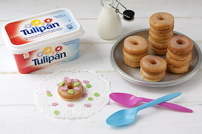 Receta de mini rosquillas al estilo americano con margarina Tulipán