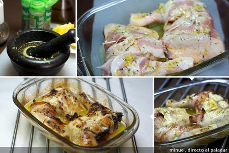Pollo asado con hierbas aromáticas - elaboración