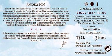 Directo al Paladar | Serrat de Montsoriu Vinya dels Tons 2005. Contra