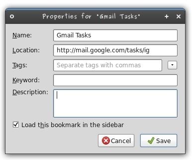 Propiedades del marcador en Firefox