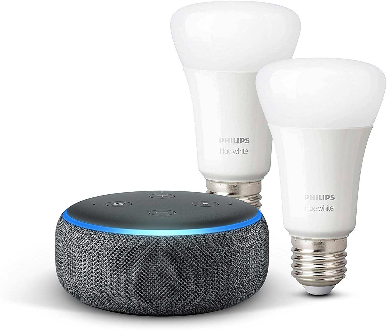 Echo Dot (3.ª generación), tela de color antracita + Philips Hue White Pack de 2 bombillas LED inteligentes, compatible con Bluetooth y Zigbee, no se requiere controlador