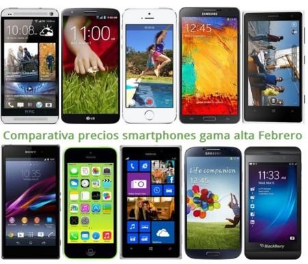 Comparativa Precios iPhone 5S, Galaxy Note 3, Lumia 1020, HTC One, LG G2, Xperia Z1 y otros gama alta en Febrero