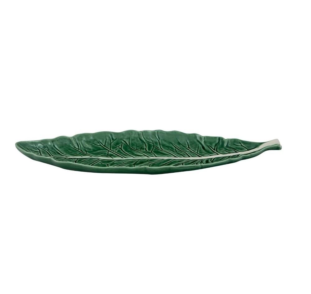 Fuente con forma de hoja estrecha Natural Couve Bordallo Pinheiro
