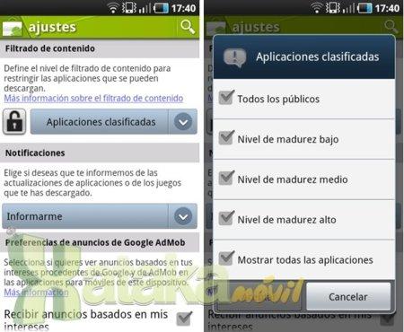 Android Market permite el filtrado de contenido para restringir las aplicaciones que se pueden descargar