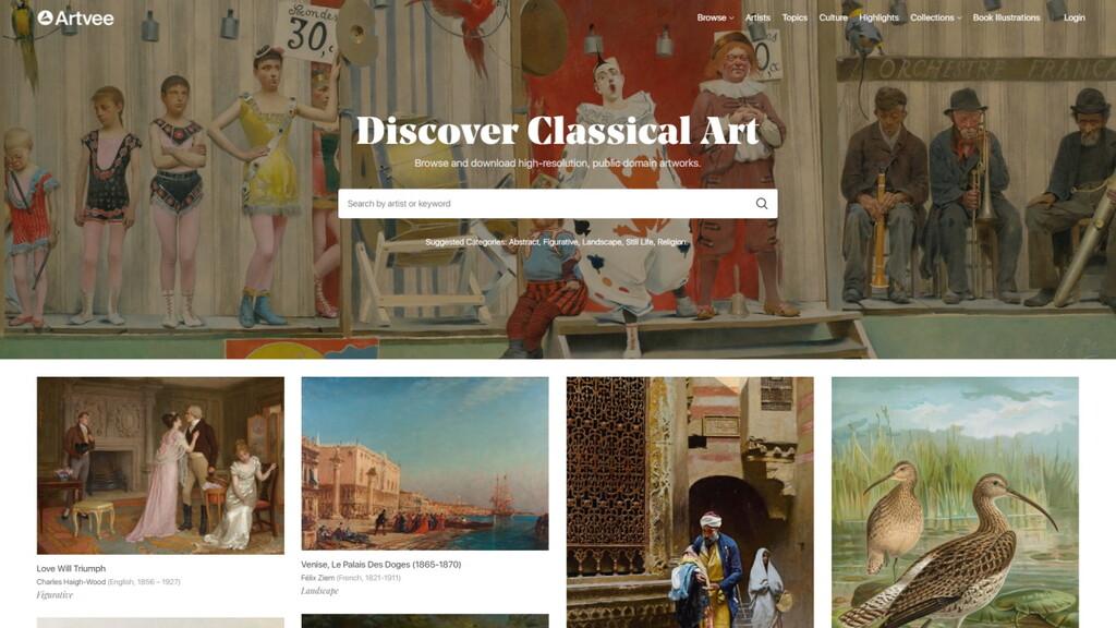 Artvee permite descargar miles de obras de arte en HD para su libre uso, gracias a la colaboración de 40 museos y bibliotecas